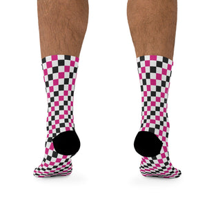 Pink Black & White Checkered 3/4 MTB Socks