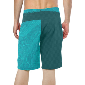 Teal Topo Check BoardShorts