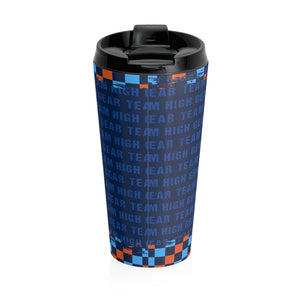 Team High Gear Blue & Orange Checker Stainless Steel Travel Mug