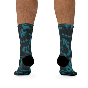 Teal Alien Skin 3/4 MTB Socks