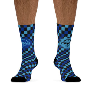 Blue Checker 3/4 MTB Socks
