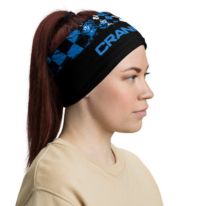 Blue black and white checkered face mask, neck gaitor, and head band all in one. Block and protect yourself from the elements in style, crank style. Great for all sports and activities. Motorcross, snowboarding, fishing, mountain biking, cycling, hiking and water sports.