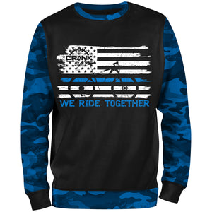 "Police ""Thin Blue Line"" We Ride Together CAMO Unisex MTB Sweatshirt"