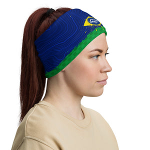 Brazil Flag Face mask, neck gaitor, headband. with topographic and checker pattern. Complimenting the crank style logo. Great for all sports, mountain biking, hiking, fishing, snowboarding and protecting from the elements. Even block that nasty corona virus.