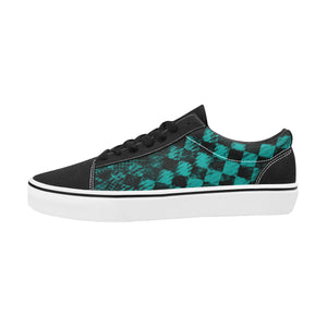 Teal Check II Lace-Up Suede/Canvas