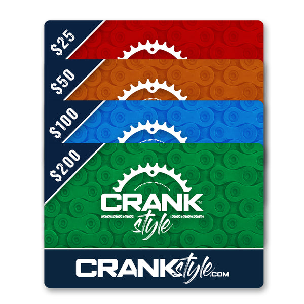Crank Style Mountain bike, cycling, gravel grinder and BMX gear is now availabe for gift cards. You can give them to friends, family or fellow riders. Now everyone can share the love of riding bikes and crank style. Support a local business.