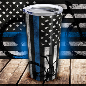 Thin Blue Line & Camouflage Mountain Bike Coffee 20oz Tumbler - Stainless Steel Travel Mug
