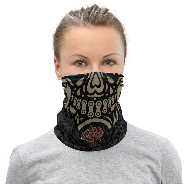Crank Style's Day of the Dead Gold Gear Head skull with red rose on a all over print of skulls. Makes an awesome face mask, neck gaitor, head band, wrist band and even hat. Great for mountain biking, hiking or just protecting yourself from the gnarly elements. COVID