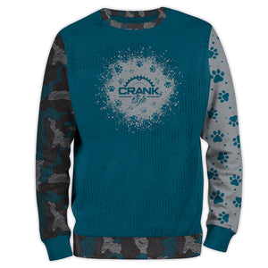 Dog paw print and new age camo pattern all over sweatshirt. Tealish blue and grey. Very sof and cozy. For all dog lovers and mountain bike riders.