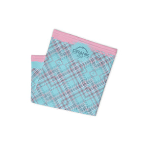 Pink & Aqua Plaid Face Mask / Neck Gaiter / Headband