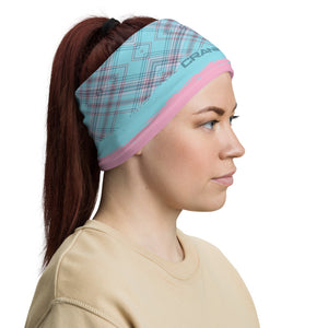 Washable and reusable Pink and aqua plaid face mask, neck gaiter, headband. These are great for protecting yourself from the elements and even the coronavirus (covid19). Now you can be fashionable and practical. Either on the trails as you shred or running to the store. .