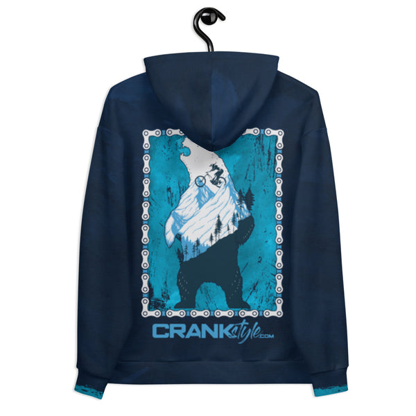 Crank Style's Downhill Roar Bear Hoodie with Blue and teal textured backgrounds. The bear design has a bike chain boarder to rreally dial in the design. Great for cold weather rides or just hanging out with your friends. Camping, hiking or mountain biking.