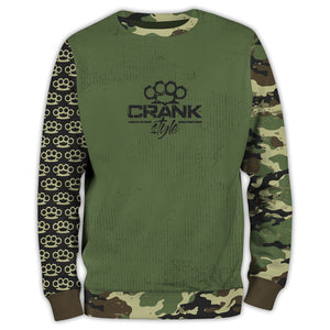 Crank Style's Green Military Camo Brass Knuckle Unisex Mountain bike Sweatshirt