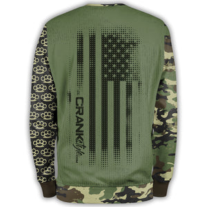 Crank Style's Green Military Camo Brass Knuckle with American Flag - Unisex Mountain bike Sweatshirt