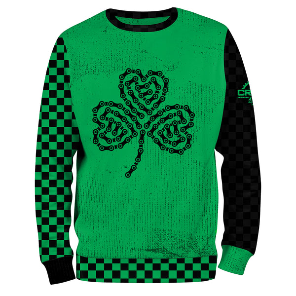 Green & Black Checkered Bike Chain Shamrock Sweatshirt
