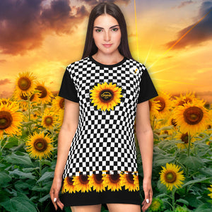 Black & White Checkerboard Pattern with Sunflowers T-shirt Dress
