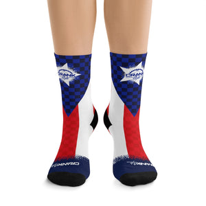 Puerto Rico Flag Checker 3/4 MTB Socks