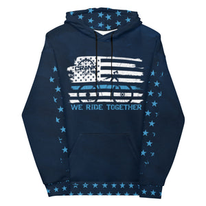 "Crank Style's Thin Blue Line hoodie, ""We Ride Together"" is comfy unisex hoodie has a soft outside with a vibrant print, and an even softer brushed fleece inside. Has the Crank Style Bike chain emblem on the back with Law enforcement colors blue and white on the blue hoodie. Classic!! Great for casual or shredding the trails."