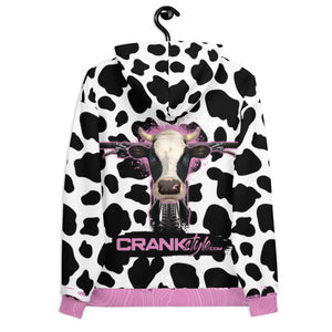 Crank Style's Mountain Bike Cow pattern hoodie with pink topographic highlights. Complete with a blue eyes cow head on the back and mountain bike. This will turn heads as you shred the trails or hand out with your friends all while respresenting you passions.