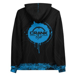 Crank Style's Over Ride Topographic pattern fleece hoodie for shredding the trails in colder temps or hanging out with your friends. This hoodie is super comfortable and unisex. Be ready becuse with the vibrant colors and awesome design you will turn heads. Mountain biking apparel for men and women
