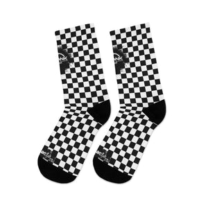 Classic Black & White Checker 3/4 MTB Socks