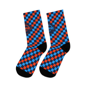Blue & Orange Checker 3/4 MTB Socks