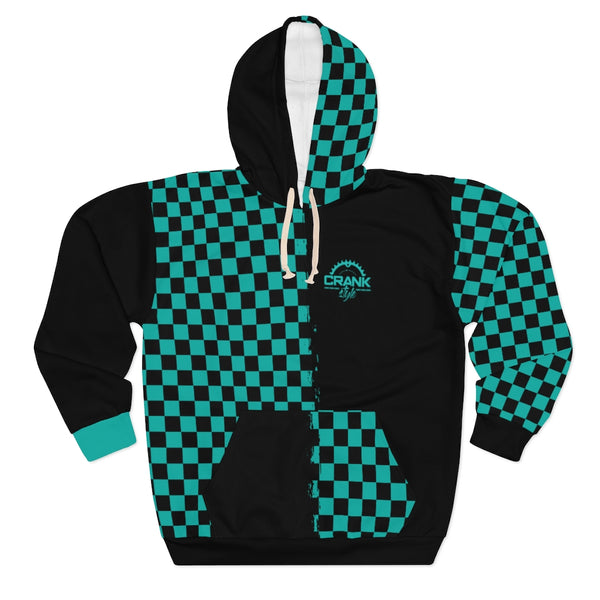 Unisex Teal Checkered Pullover Hoodie