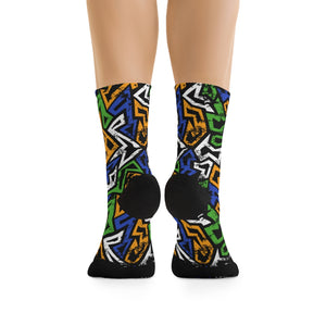 MN Green Blue Yelo Graffiti 3/4 MTB Socks