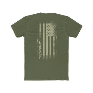 Men's US Flag Military Green Vintage Cotton Crew Tee