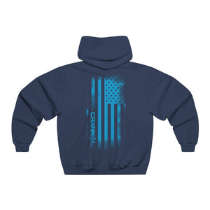 Vintage Crank Style Hooded Sweatshirt with American Flag back