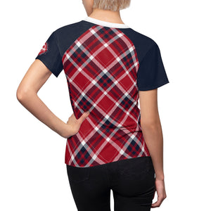 Crank Style's Red white and Blue Plaid MTB  Short Sleeve Jersey for women . Drifit microfiber material that wickens the moisture away from the body as you shred the trails. Makes riding more comfortable and fun when your clothes perform and look great while doing what you love!