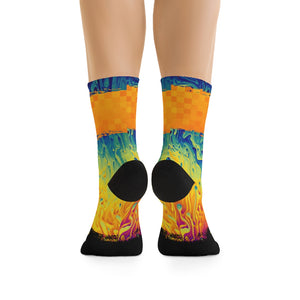 Trippy Paint Drip Checker 3/4 MTB Socks