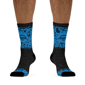 Blue & Black Heart 3/4 MTB Socks