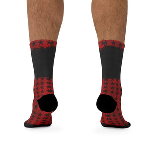 Red & Black Stars 3/4 MTB Socks