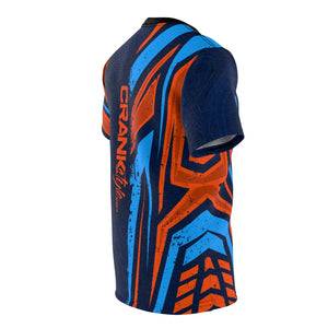 Blue & Orange Racing Stripes & Topographic MTB Jersey