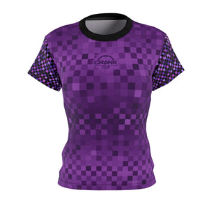 Ladies Purple Multi Checker board Mountain bike cycling Jersey. Drifit 4oz and 6 oz fabric. Super lightweight and breathable. Crank Style provides fashionable mtb gear that gives you the confidence to ride with style.