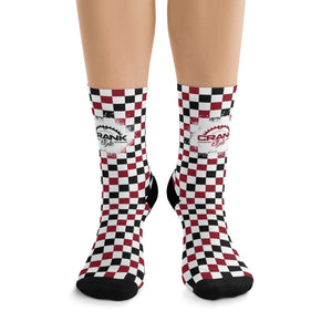 Red, Black and White Checkerboard Mountain bike athletic breathable socks. These are great for Wisconsin Badger fans that love to ride bikes or just wear as spirit wear!!