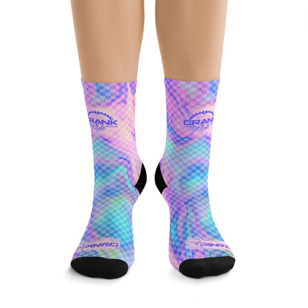 purple, aqua and pink fantasy chexkboard pattern mountain bike cycling socks. these perform in all conditions. breathable and stylish. now you can crank in style, with crank style socks! matching unicorn mtb cycling jersey