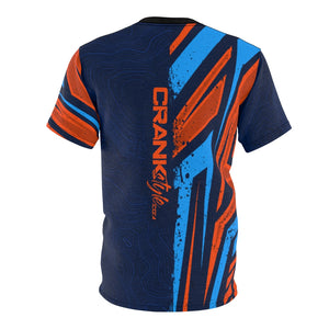 Orange & Blue Racing stripes with blue topographic pattern crank style drifit microfiber mountain bike jersey. This one has High Gear Bike shop colors. Prescott Arizona. Whiskey offroad