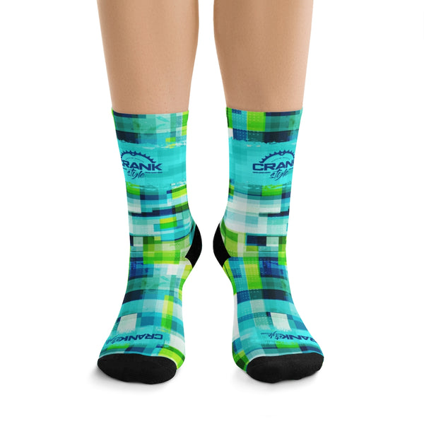 Blue & Green Grunge Cells 3/4 MTB Socks