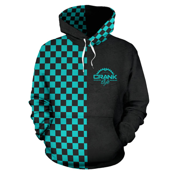 Teal Checkered Hoodie