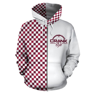 Maroon Checkered Zip Hoodie
