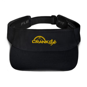 Yellow and black Flex Fit Visor with the Crank Style embroidered logo. Great for NFL Steeler & NHL Bruins Fans.  Mountain bike & Cycling hats and apparel.