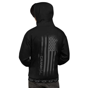 Crank Style's Grungy Brass Kuuckle Hoodie. Super soft brushed fleece with even softer fleece on the inside to keep you warm after shredding the trails on your mountain bike. We added the American Flag to the back as a huge salute to our country and all the badass men and women out there protecting us.