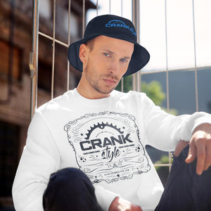 Crank Style Bucket embroidered hat, availbe in Navy Blue, Black and white with a bright blue crank style logo. Also in this picture show the vintage crank style long sleeve shirt in white. Bith a great for protecting from the sun in the summer race series and season.