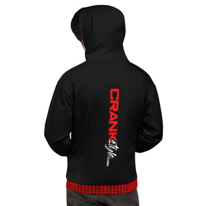 Crank Style's Vintage Black, Red and White Hoodie