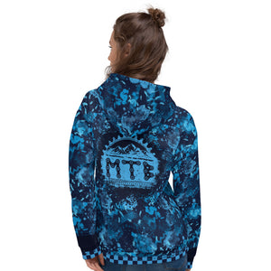 Crank Style's Digital Blue Camo and Checkerboard MTB Pull over Hoodie. This comfy unisex hoodie has a soft outside with a vibrant print, and an even softer brushed fleece inside. The hoodie has a relaxed fit, and it's perfect for wrapping yourself into on a chilly ride or hanging out with your friends. Made in USA