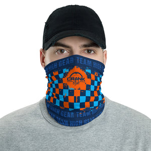 Team High Gear Bike Shop Orange and Blue Checker Face Mask / Neck Gaiter