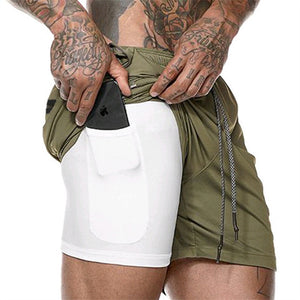 Men Shorts Hidden Mobile Phone inside Pockets Joggers Fitness Cycling Shorts Quick Dry Workout Gym