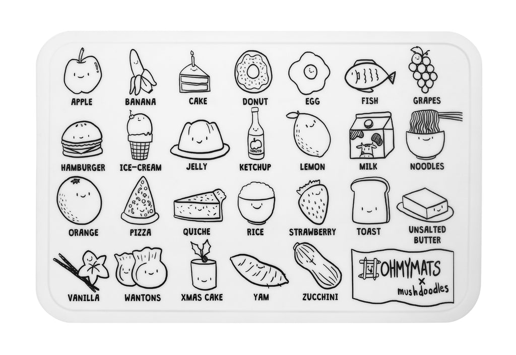 #ohmymats Alphabet Food - Large Reuseable Colouring & Dining Place Mat (KOREA)